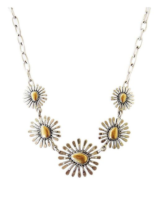 Lucky Brand | Metallic Two Tone Floral Collar Necklace | Lyst