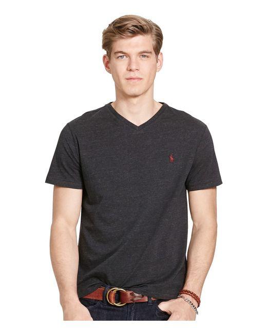 ralph lauren black medium fit short sleeved cotton jersey v neck tee. Black Bedroom Furniture Sets. Home Design Ideas