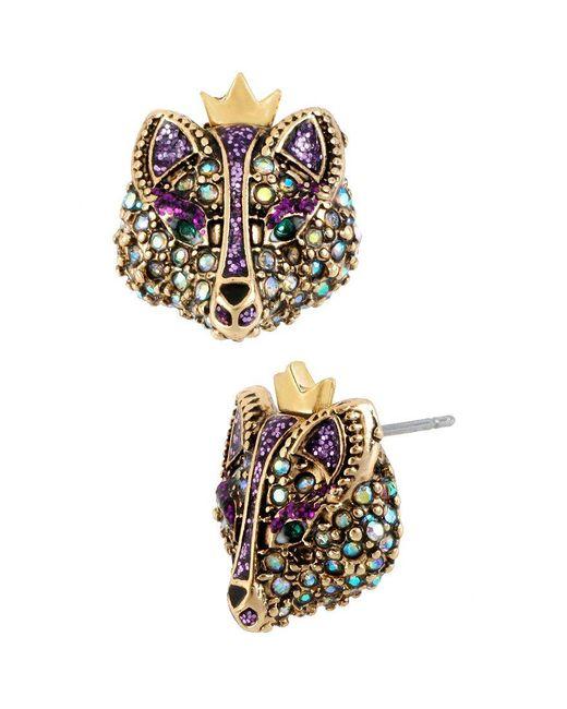 Betsey Johnson   Purple Fox Stud Earrings   Lyst