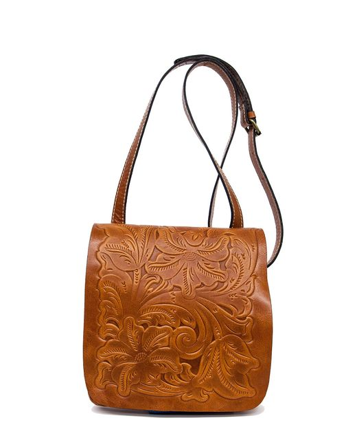 Patricia Nash Tooled Floral Embossed Granada Cross-body Bag In Brown (Florence) | Lyst