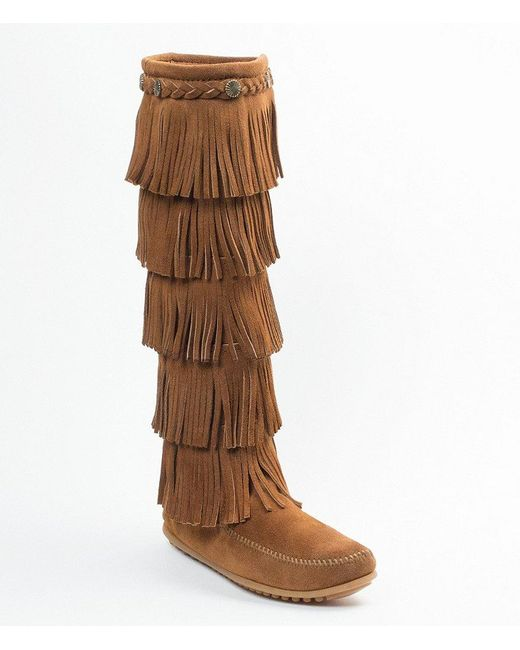Minnetonka | Black 5-layer Fringe Boots | Lyst