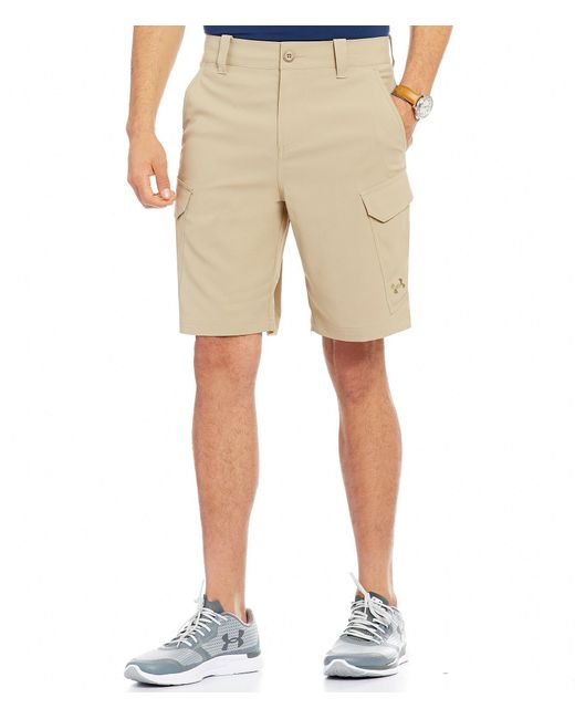 Under armour fish hunter cargo shorts in natural for men for Under armour fishing shorts