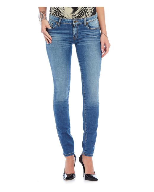 Guess | Blue Mid-rise Power Curvy Skinny Jeans | Lyst