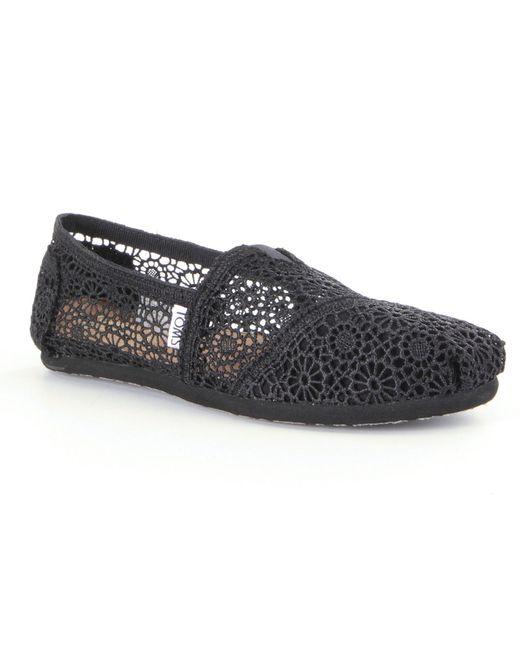 Toms Crochet Floral Crochet Alpargata Slip On Shoes