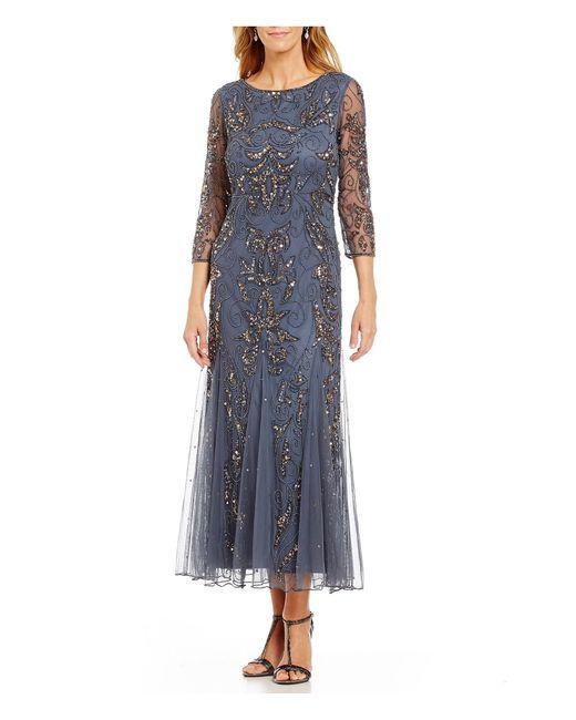 Pisarro Nights | Gray 3/4 Sleeve Beaded Gown | Lyst