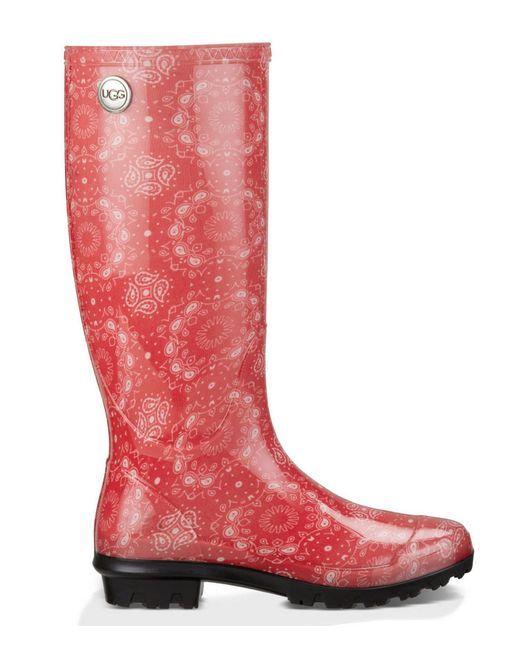 Cool Womens UGGu00ae Shaye Tall Rain Boot - Red - 581791