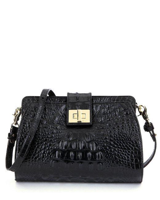 Brahmin | Black Melbourne Collection Alena Croco-embossed Cross-body Bag | Lyst
