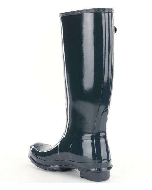 Hunter Women´s Original Tall Gloss Rain Boots in Blue | Lyst