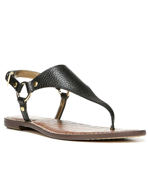 Sam Edelman | Black Greta T-strap Sandals | Lyst