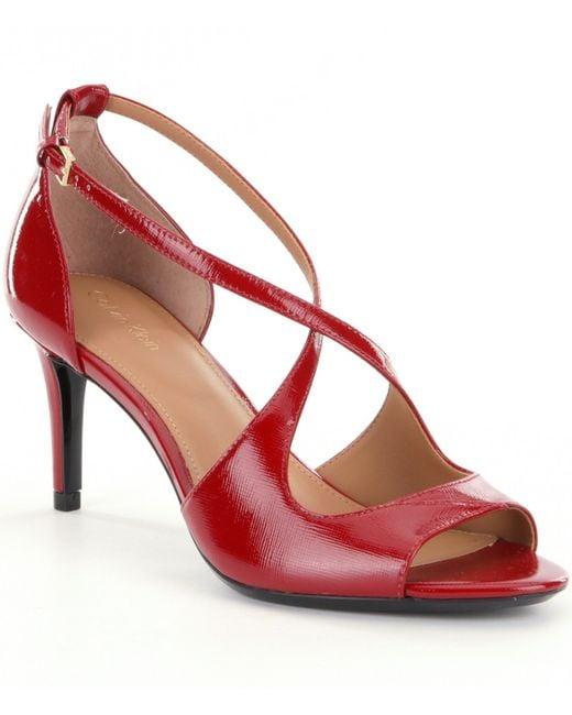 Calvin Klein | Red Landria Peep-toe Stiletto Pumps | Lyst