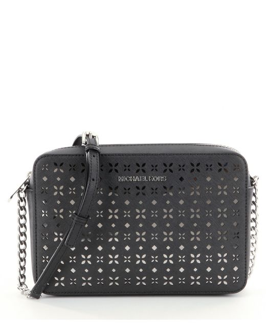 Michael Michael Kors Jet Set Floral-perforated Large East/west Cross-body Bag In Black (Black ...