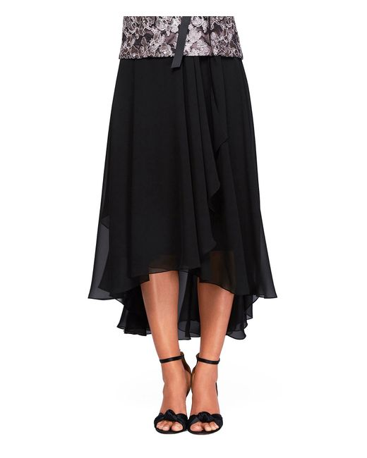 alex evenings tea length high low side draped skirt in