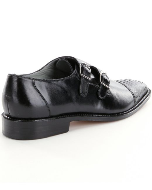 Belvedere Amico Black Monk Strap Shoes