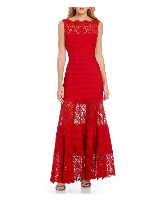 Tadashi Shoji | Red Petite Illusion Lace Banded Gown | Lyst