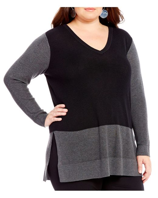 Vince Camuto | Black Plus Waffle-stitch Colorblock Sweater | Lyst