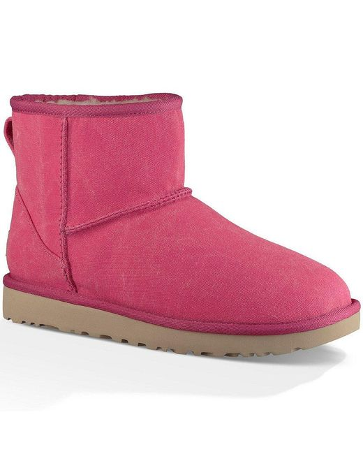 Ugg | Pink ® Classic Mini Canvas Stone Washed Canvas Pull-on Booties | Lyst