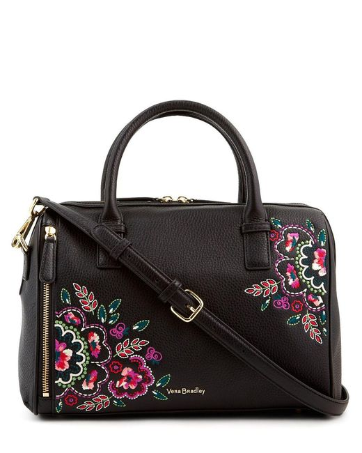 Vera Bradley Marlo Floral Embroidered Satchel In Black Lyst