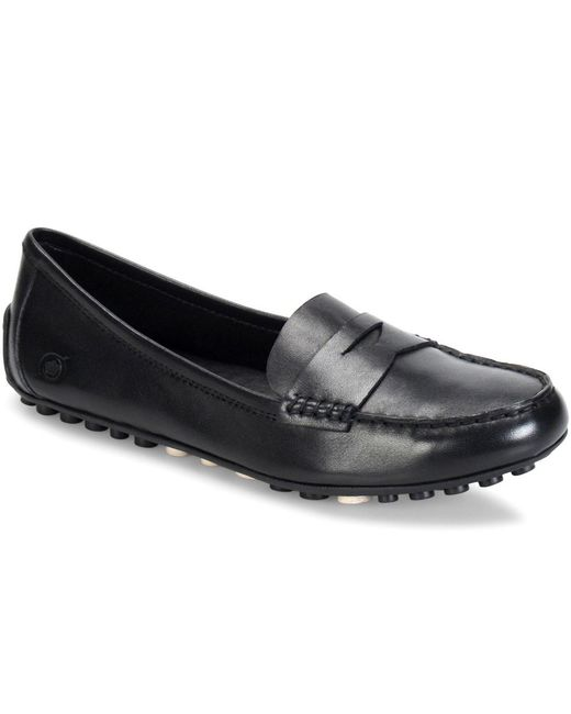Born Malena Leather Slip On Dress Penny Loafers In Black