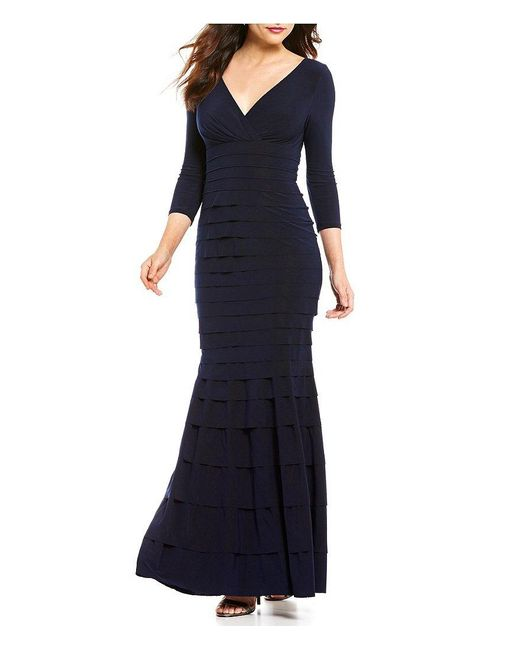 Kay Unger   Blue Tiered V-neck 3/4 Sleeve Banded Jersey Gown   Lyst