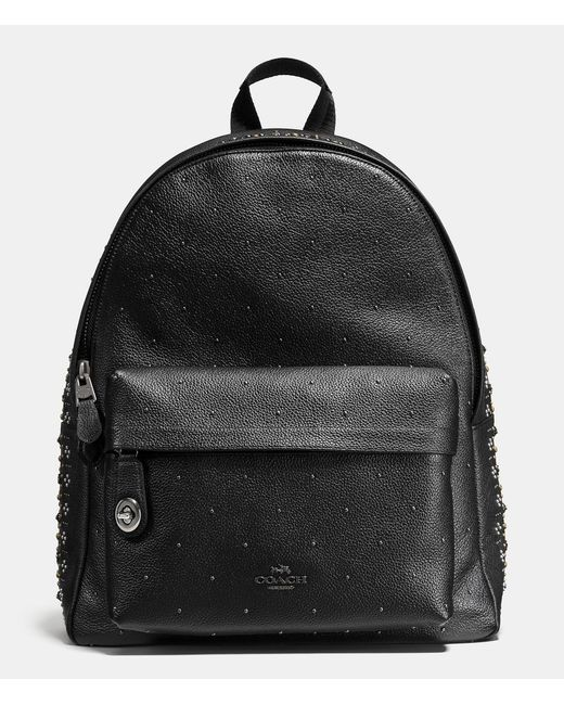 coach bandana rivets campus backpack in pebble leather in