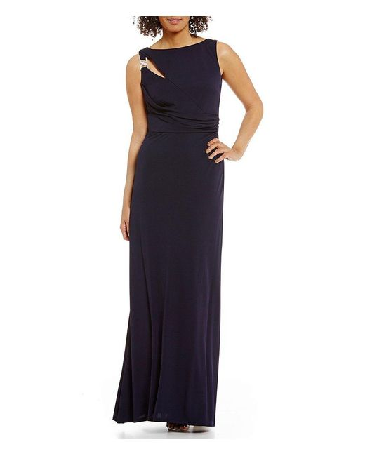 David Meister | Blue Cut-out Jersey Gown | Lyst
