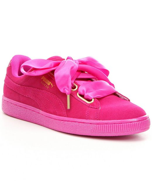 puma suede heart satin sneakers in pink lyst. Black Bedroom Furniture Sets. Home Design Ideas