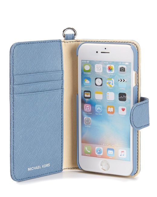 michael michael kors iphone 7 folio case in blue lyst. Black Bedroom Furniture Sets. Home Design Ideas