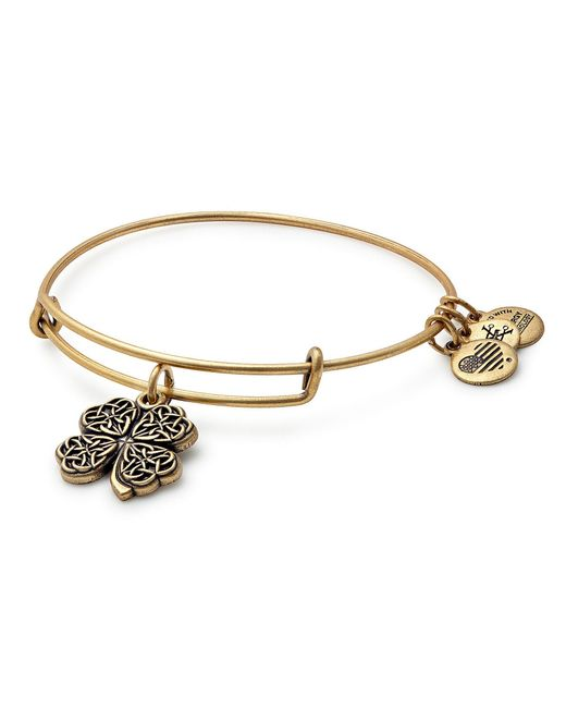 ALEX AND ANI | Metallic Four Leaf Clover Charm Bangle Bracelet | Lyst