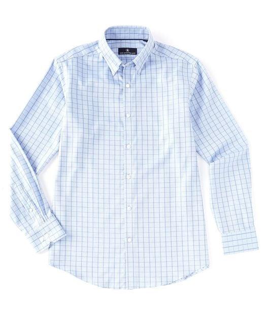 Hart Schaffner Marx Blue Long Sleeve Dobby Windowpane Sportshirt for men