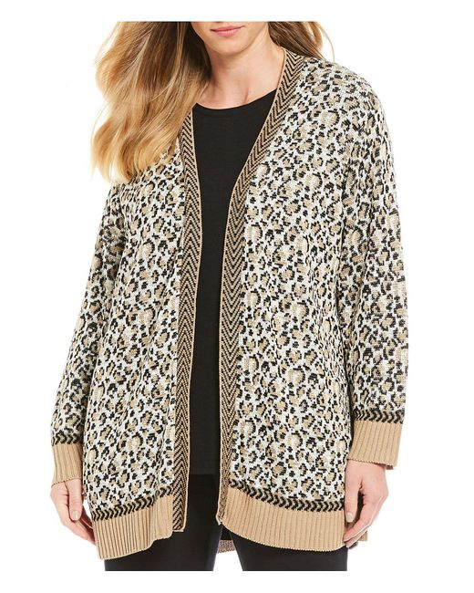 Ruby Rd Multicolor Plus Size Textured Leopard Print Jacquard Sweater Open Front Cardigan