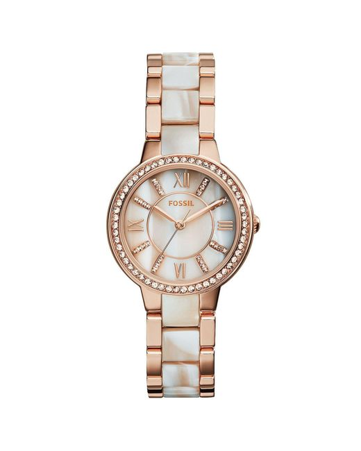 Fossil - Metallic Virginia Stainless Steel Glitz Bracelet Watch - Lyst