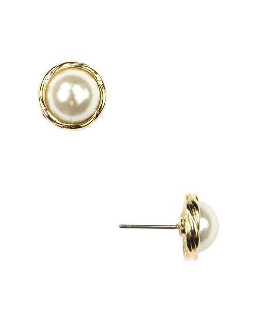 Anne Klein - Metallic Faux-pearl Earrings - Lyst