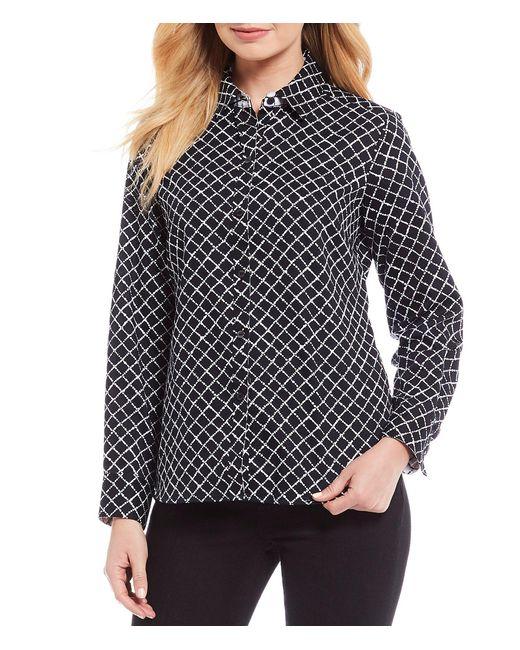 Foxcroft Black Ava Geometric Diamond Dots Cotton Sateen Wrinkle Free Button Front Shirt
