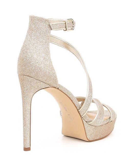 48becaa251a ... Gianni Bini - Metallic Corielle Glitter Strappy Platform Sandals - Lyst  ...