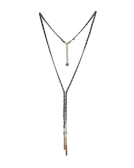 BCBGeneration - Metallic Bcbg Gold And Black Y-necklace - Lyst