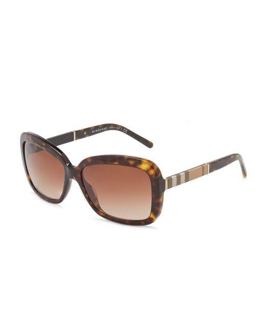 Burberry - Brown Canvas Check Square Gradient Sunglasses - Lyst