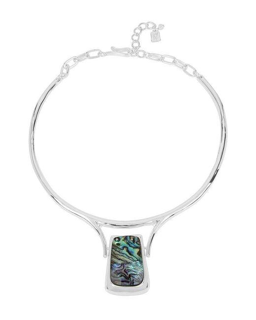 Robert Lee Morris | Metallic Geometric Abalone Pendant Wire Collar Necklace | Lyst