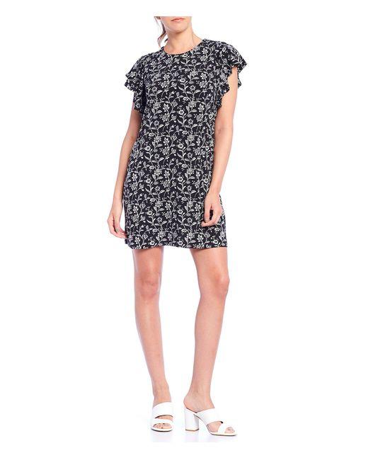 Cece Black Flutter Sleeve Floral A-line Knit Dress