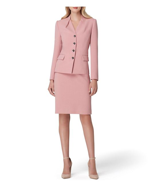 Tahari - Pink Folded Neckline Skirt Suit - Lyst