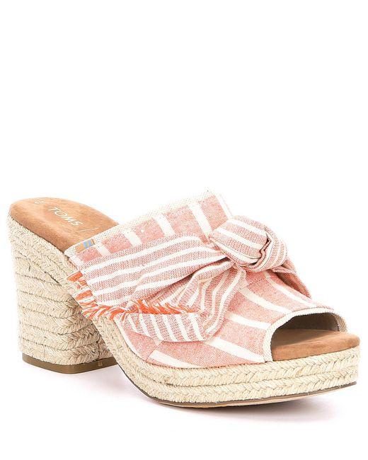 bbb1ee813810 TOMS - Pink Junie Striped Canvas Block Heel Mules - Lyst ...