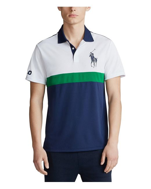 Polo Ralph Lauren Blue Big & Tall Color Block Big Pony Tech Pique Short-sleeve Polo Shirt for men