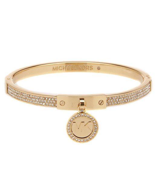Michael Kors   Metallic Fulton Pavé And Cubic Zirconia Bangle Bracelet With Logo Charm   Lyst
