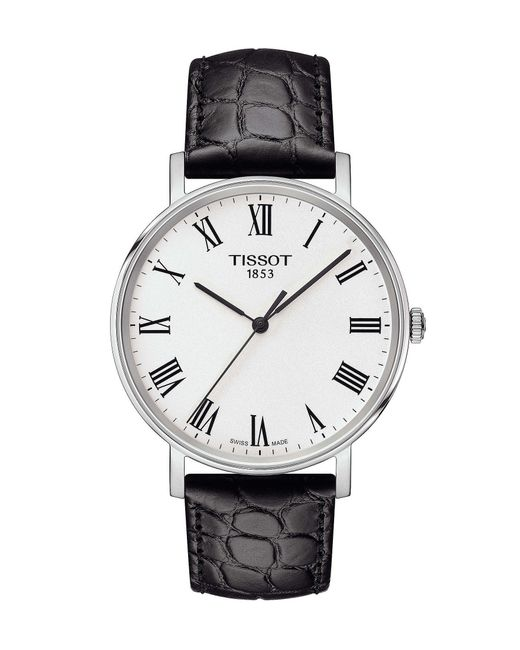 Tissot - Everytime Men's Black Roman Numeral Leather Strap Watch for Men - Lyst