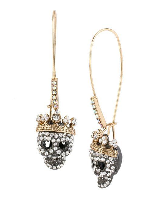 Betsey Johnson - Metallic Pavé Skull Long Drop Earrings - Lyst
