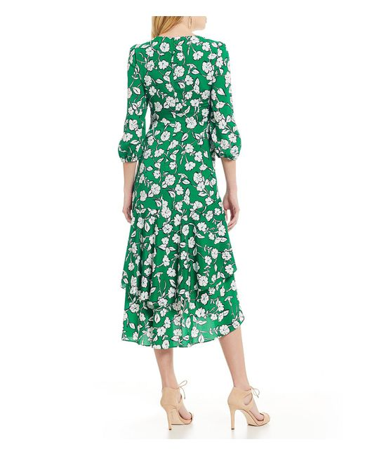 2802308b5b9c95 ... Eliza J - Green Floral Print Surplice V-neck Midi Length Wrap Dress -  Lyst ...