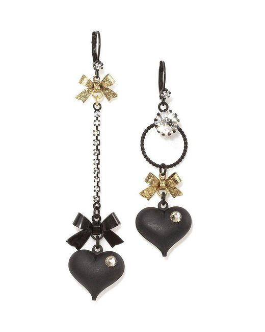 Betsey Johnson | Black Mismatched Bow And Crystal Heart Earrings | Lyst