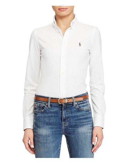 Polo Ralph Lauren   White Classic Signature Pony Knit Oxford Shirt   Lyst