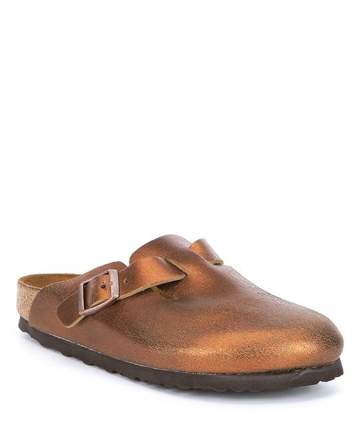 Birkenstock - Brown Boston Washed Leather Clogs - Lyst