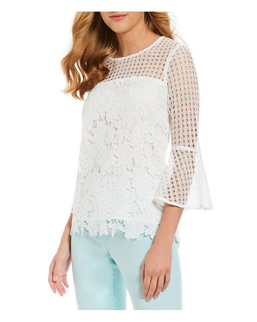CALVIN KLEIN 205W39NYC - White Mixed Eyelet Lace Flare Sleeve Top - Lyst