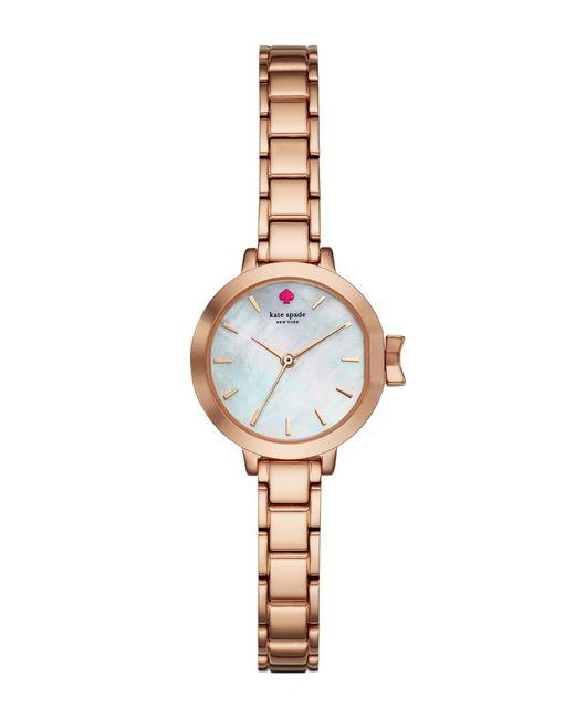 Kate Spade - Metallic Park Row Mother-of-pearl Rose Gold Analog Bracelet Watch - Lyst